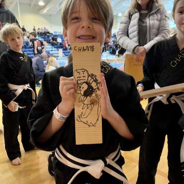 The board breaking drawing contest at the Kids Kenpo Martial Arts tournament at Episcopal School of Dallas