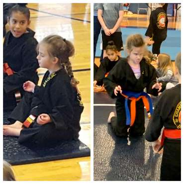 Maggie meditating and going to Beast Mode at the Kids Kenpo Martial Arts tournament at Episcopal School of Dallas