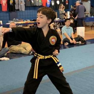 Ben performing Pinan 1 at the Kids Kenpo Martial Arts tournament at Episcopal School of Dallas