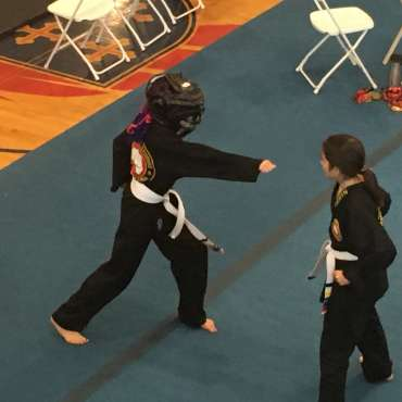 White belts in the self-defense division the Kids Kenpo Martial Arts tournament at Episcopal School of Dallas