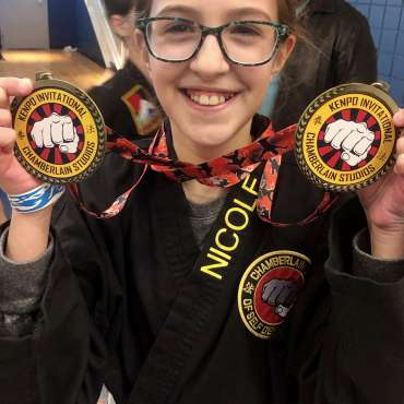 Nicole at the Kids Kenpo Martial Arts tournament at Episcopal School of Dallas
