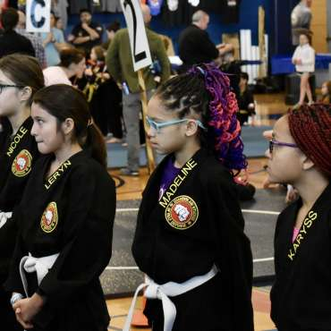 White belts at the Kids Kenpo Martial Arts tournament at Episcopal School of Dallas
