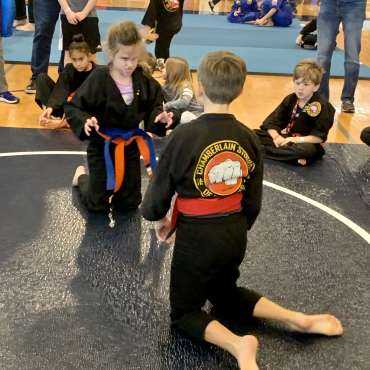 Maggie going Beast Mode during grappling at the Kids Kenpo Martial Arts tournament at Episcopal School of Dallas
