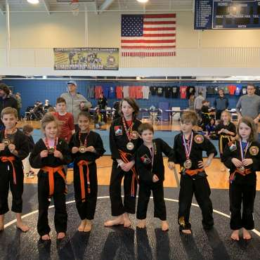 Grappling winners at the Kids Kenpo Martial Arts tournament at Episcopal School of Dallas