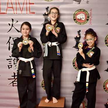 Winners at the Kids Kenpo Martial Arts tournament at Episcopal School of Dallas