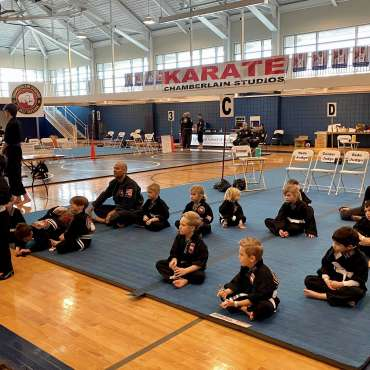 Beginners' Show kata presentations at the Kids Kenpo Martial Arts tournament at Episcopal School of Dallas