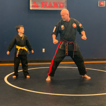 Shihan Shane and Maxwell at the Kids Kenpo Martial Arts tournament at Episcopal School of Dallas
