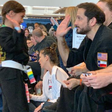Sensei Kory at the Kids Kenpo Martial Arts tournament at Episcopal School of Dallas
