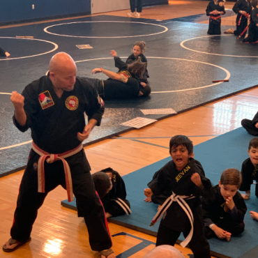 Shihan Rollend and Jeevan during the Beginners Show at the Kids Kenpo Martial Arts tournament at Episcopal School of Dallas