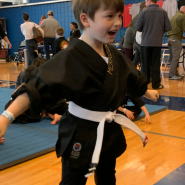 Merrick at the Beginners Show at the Kids Kenpo Martial Arts tournament at Episcopal School of Dallas