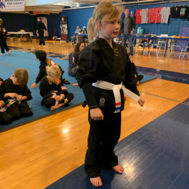 Viv at the Beginners Show at the Kids Kenpo Martial Arts tournament at Episcopal School of Dallas