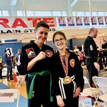 Emily and Nicole at the Kids Kenpo Martial Arts tournament at Episcopal School of Dallas