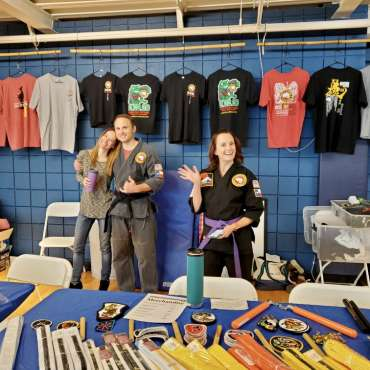 The T-shirt booth at the Kids Kenpo Martial Arts tournament at Episcopal School of Dallas