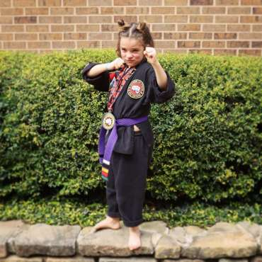 Tilly at the Kids Kenpo Martial Arts tournament at Episcopal School of Dallas