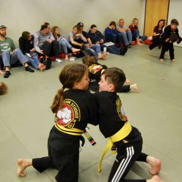 Grappling at the Kids Kenpo / Martial Arts Belt Test - February 2020 at the Lakewood Dojo in Dallas