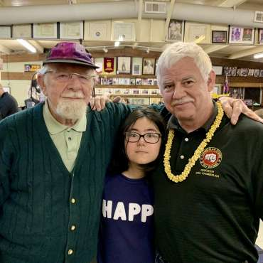 Professor Chamberlain with his father Ed and Nadia at the annual Mizutaki martial arts dinner in Dallas, Texas
