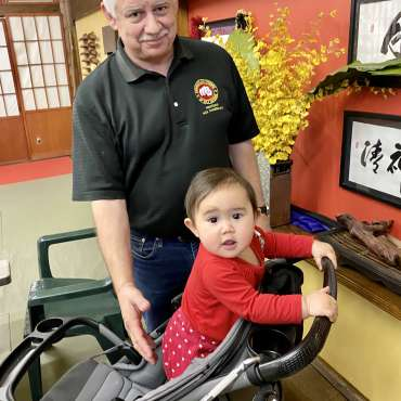 Professor Chamberlain and his daughter Elizabeth at the annual Mizutaki martial arts dinner in Dallas, Texas